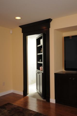 Basement-great idea for door that leads into the storage area