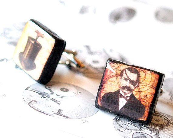 Mr. Black top hat steampunk inspired scrabble cufflinks Men accessories Gift for him Unisex gift Wooden  Decoupaged jewelry