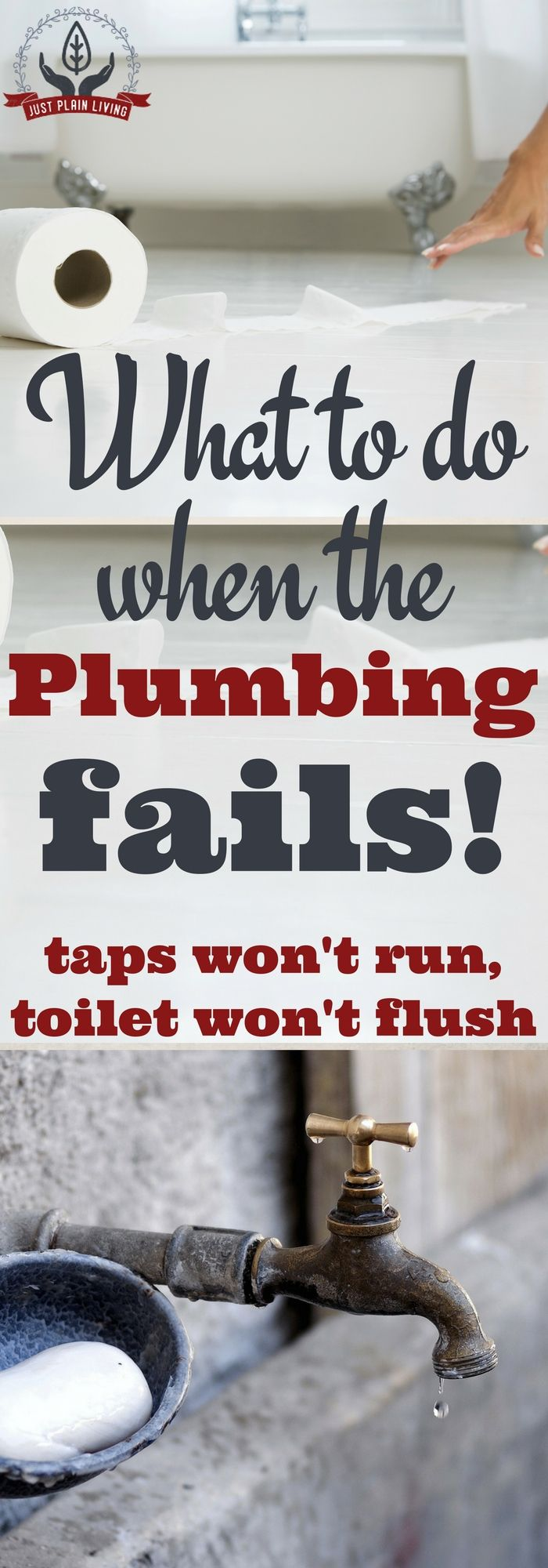 What To Do When The Plumbing Fails https://justplainmarie.ca/what-to-do-when-plumbing-fails/At?utm_campaign=coschedule&utm_source=pinterest&utm_medium=Just%20Plain%20Marie%20-%20Sustainable%2C%20Self%20Reliant%20Living&utm_content=What%20To%20Do%20When%20The%20Plumbing%20Fails some point, the faucets are dry and the toilet won't flush. Whether it's a backed up septic system or a problem with the water main, it happens. What to do?
