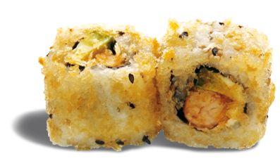 CRISPY AVOCAT CREVETTE  - rouleau de riz garni de crevette ; avocat et sauce anguille et frit façon tempura à la japonaise