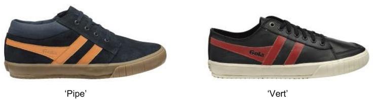 Gola è la risposta alla scelta di una scarpa sportiva con oltre 25 varianti di colori disponibili su entrambe le scarpe da tennis 'quota' e 'Quattro'. Le caratteristiche della collezione richiama la scena dello skateboard anni '80, ha ispirato allenatori come 'Pipe' e 'Vert' che combinano una grossa suola vulcanizzata con i tradizionali disegni Gola per creare una scarpa da skate in puro stle british.