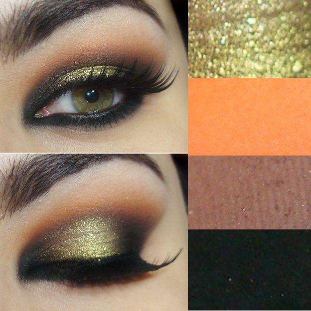 Tutorial com sombra amarela dourada, laranja e preta