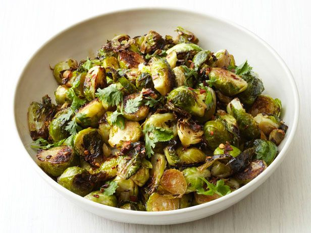 Roasted Garlic Brussels Sprouts recipe via #FNMag #FNThanksgiving