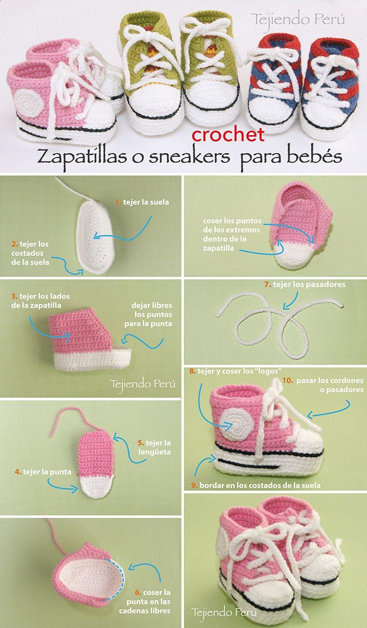 #Sneakers o zapatillas para bebés tejidas a #crochet! Paso a paso con video tutorial :)  Conoce más sobre de los bebes en somosmamas.com.ar.