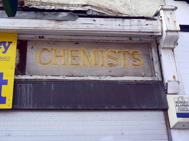 Old sign on an abandoned chemist's shop in Kemp Town, Brighton.   http://parapharmacie-en-ligne.blog4ever.com/blog/lire-article-517544-2619940-les_parapharmacies_et_la_culture_thaie.html