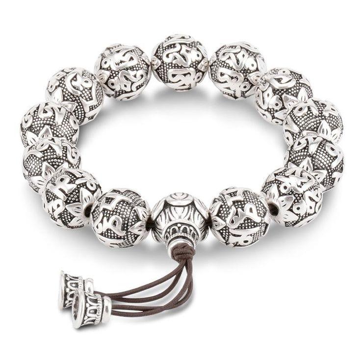 Silver Beads Om Mantras Prayer Bracelets