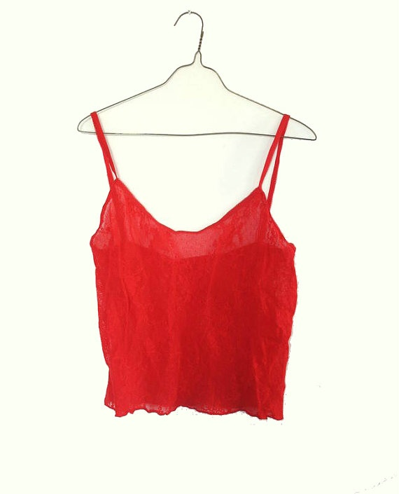 80s Fishnet Satanic Red Floral Fishnet Crop Top by ACTUALTEEN, $8.00