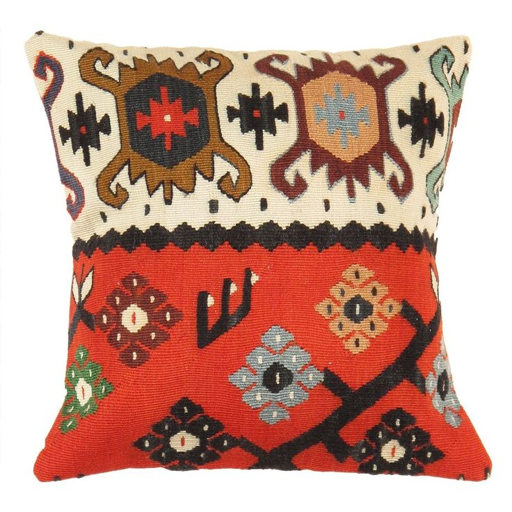 Pasargad Kilim Vintage Ivory and Red 16-inch Throw Pillow
