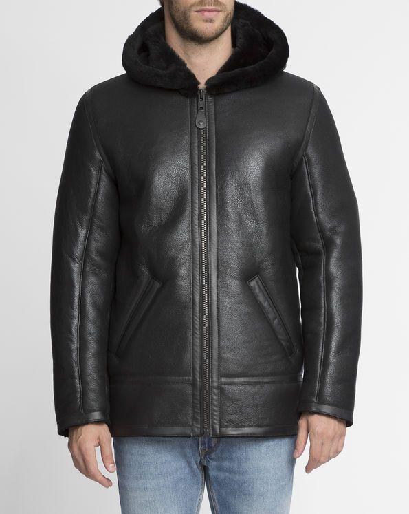 Manteau Hooded Peau Lainée Noir x Menlook SCHOTT NYC