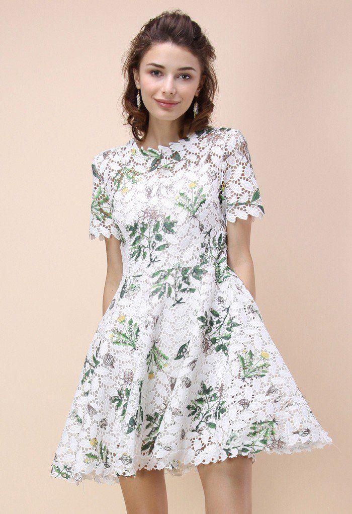 Wildflower Fresh Crochet Flare Dress - Retro, Indie and Unique Fashion
