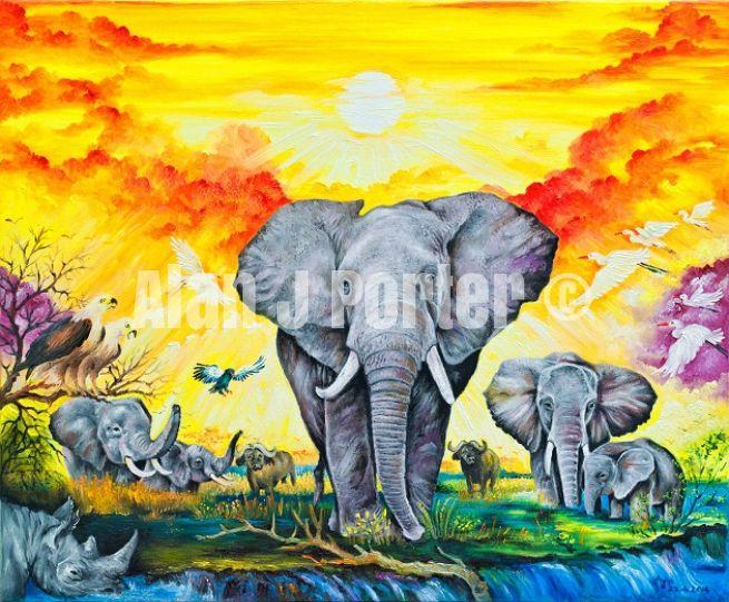 #alanjporterart #kompas #art #animals #wild #elephants #birds #africa #sunset #nature #originals #oil #originaldesign #beautifulcolors #sun #steepe