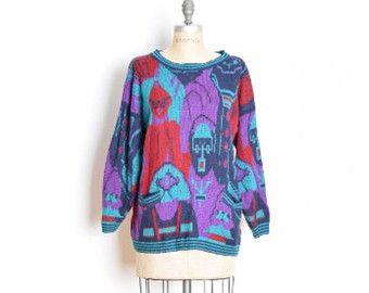 suéter Vintage 80s 80s cosby suéter feo por huncamuncavintage