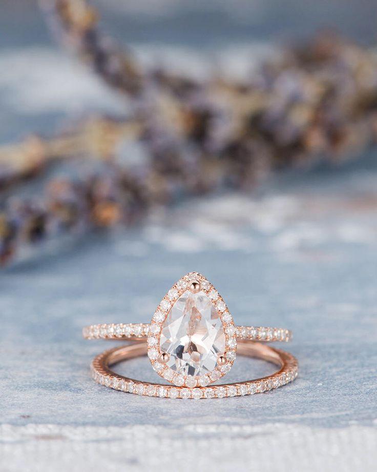 Pear Shaped Rose Gold Engagement Ring Set Bridal Set White Topaz Birthstone Ring Anniversary Promise Eternity Stacking Wedding Band Women by MoissaniteRings on Etsy https://www.etsy.com/listing/523186998/pear-shaped-rose-gold-engagement-ring