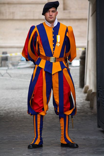 Swiss Guard at the Vatican (technically not Italy, The Vatican is a separate country). The Swiss Guards are very handsome!