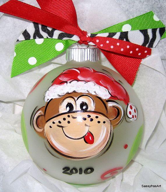 Personalized Christmas Ornament  Santa Monkey by SassyfrasDesignz, $19.99
