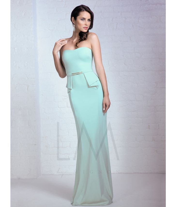 Mignon Mint Strapless Peplum #Prom Dress #uniqueprom