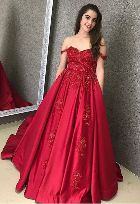 2f01962779 Ball Gown Off the Shoulder Sweetheart Dark Red Appliques Long Prom Dresses  with Pockets