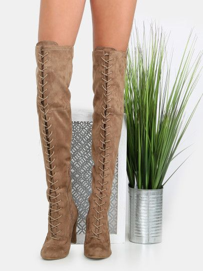 Shop Thigh High Front Lace Up Boots TAUPE online. SheIn offers Thigh High Front Lace Up Boots TAUPE & more to fit your fashionable needs.