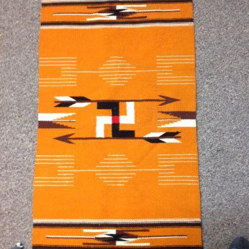 Antique Native American Chimayo Rug Blanket Backwards