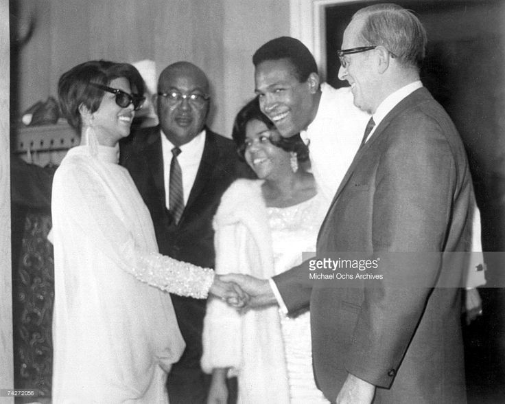 Singers Marvin Gaye and Tammi Terrell pose for a portrait with 2 men and Marvin's first wife Anna Gordy (sister of Berry Gordy) in circa 1968. (L-R) Tammi Terrell, Anna Gordy, Marvin Gaye.
