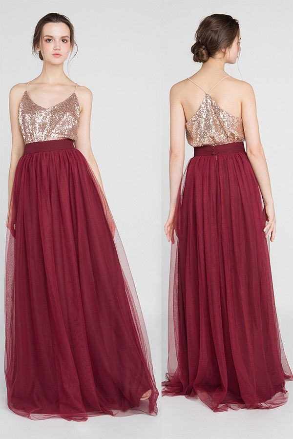 glittery rose gold and burgundy bridesmaid dresses