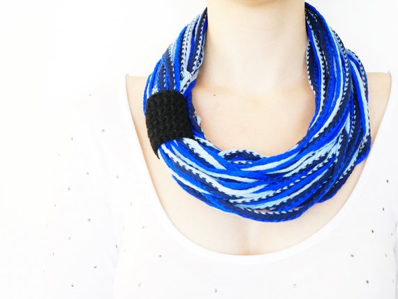 SCARF // FREE SHIPPING // Blue White Black   Infinity by Sudrishta, $25.00
