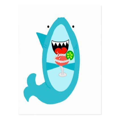 Cool Shark Drinking A Margarita Postcard