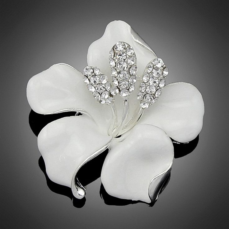 2016 New Enamel Brooch Rhinestone Crystal Lily Flower Brooches for Women free shipping ** Click the image to visit the website