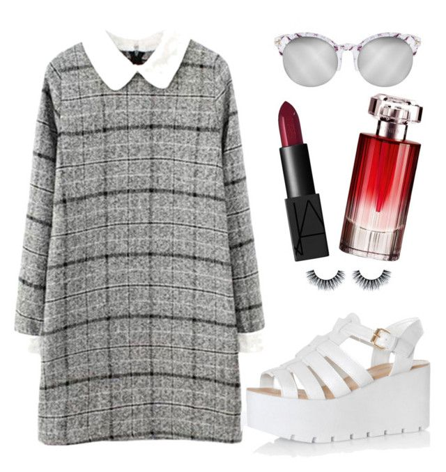 Mix and match between monochrome and maroon by aninditaarr on Polyvore featuring polyvore, fashion, style, Glamorous, NARS Cosmetics and Lancôme