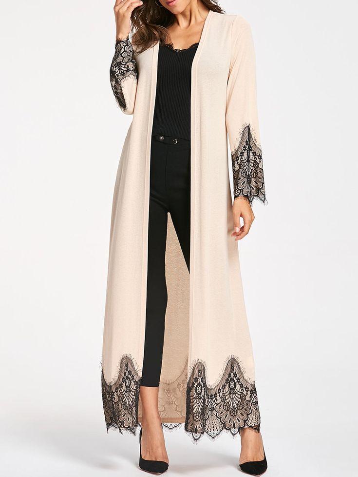 Eyelash Lace Trim Longline Cardigan in Apricot M | Sammydress.com