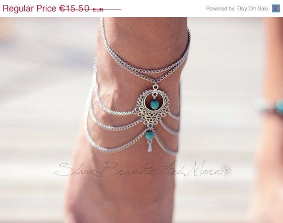 anklet foot jewelry antique silver by SlaveBraceletAndMore on Etsy