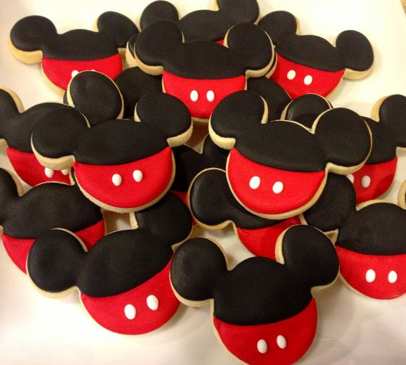 Mickey Mouse and Number Sugar Cookies 1 dozen by LaPetiteCookie