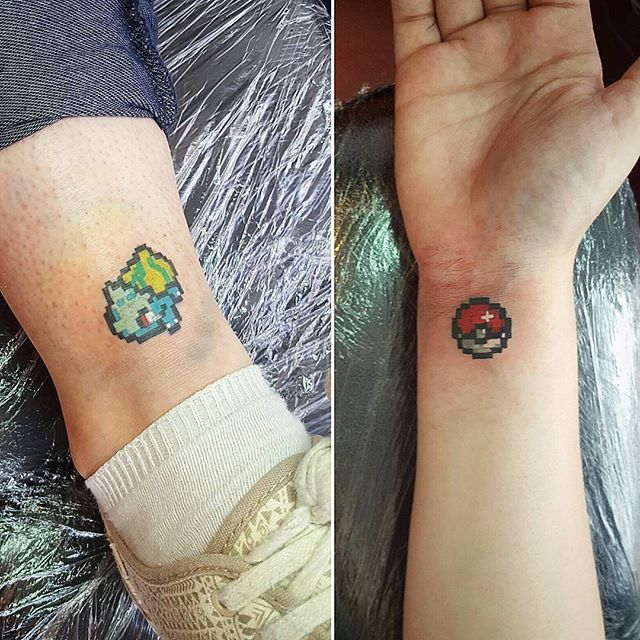 Two of the pokemon promo tattoos from this week! Thanks girls :) #bulbasaur…