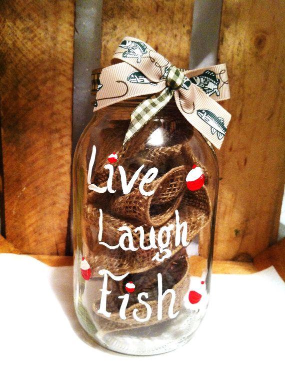 Hand Painted Mason Jar, Decorative Mason Jar, Painted Mason Jar, Home Decor, Fishing Decor