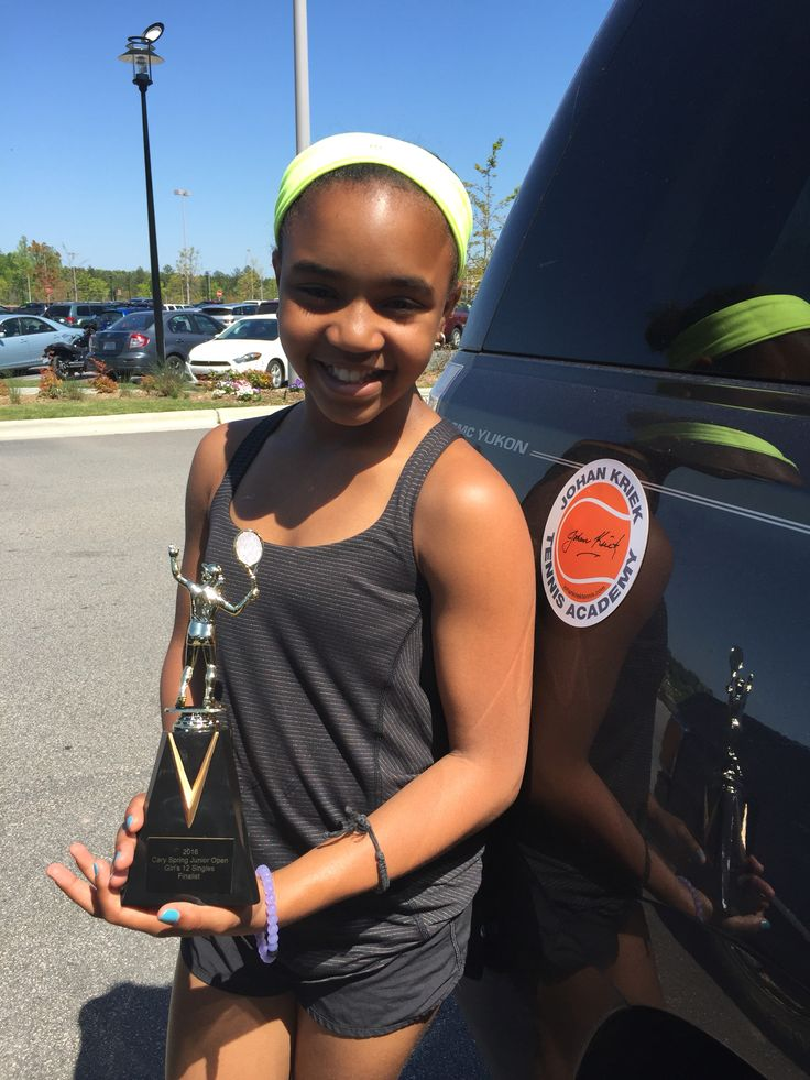 "Congratulations to Kai Carter, girl's 12 Cary Spring Junior Open finalist in Cary, NC! Unseeded Kai beat the number 4 seeded opponent 6/0 6/0 in the quarterfinals. ""Kai had an amazing tournament weekend. She played very well and I was very proud of her!"" said Kai's mom, Ellen Rucker Sellers. Awesome Kai! We are also very proud of you! #KaiCarter #JohanKriekTennisAcademy #JKTA #JKTAteam #tennis #elitetennisacademy #trainingwithrealchampions"