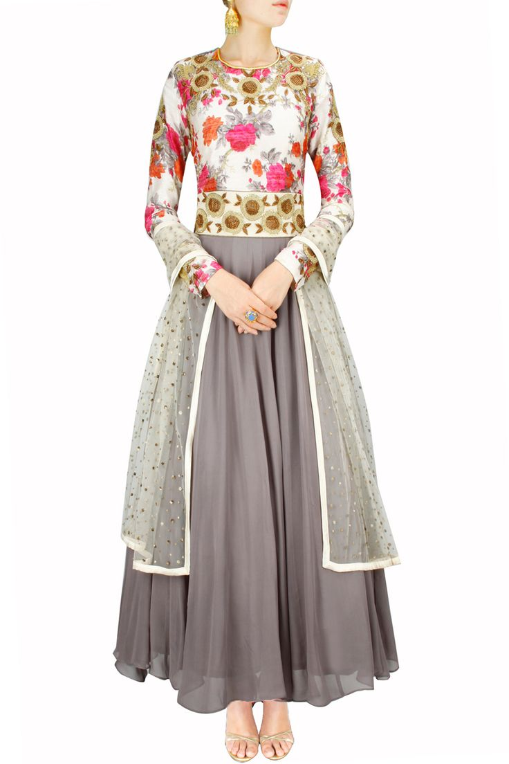 Grey floral print embridered anarkali set BY BHUMIKA SHARMA. Shop now at http://www.perniaspopupshop.com/ #designer #amazing #sttunning #designerclothes #love #perniaspopupshop #happyshopping