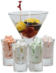 Vodka soaked fruit to dip in alcohol infused whipped cream. Holy drunk monkey!