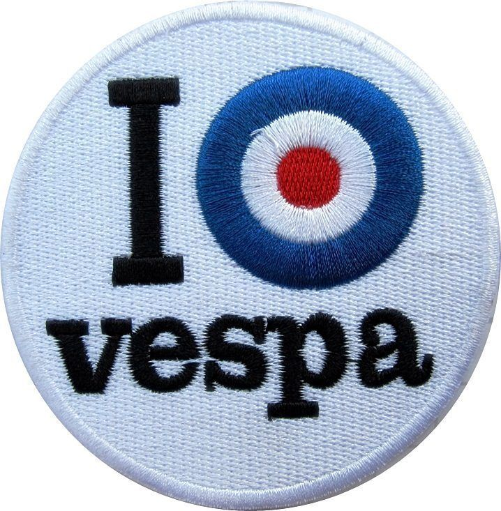 I (target) Vespa round embroidered cloth patch from England (yy)