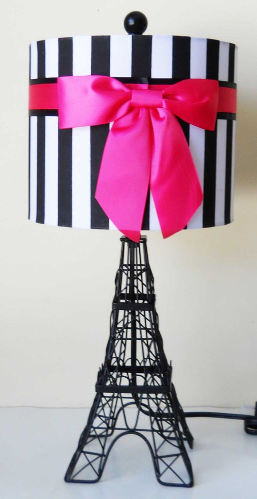 ROYAL PARIS EIFFEL TOWER MOULIN ROUGE HOT PINK RIBBON TABLE ACCENT LAMP  GIFT  | Home & Garden, Lamps, Lighting & Ceiling Fans, Lamps | eBay!