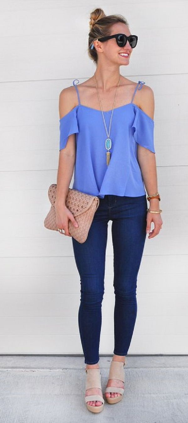 I like that this is so flowy without being baggy. Can dress up or down. http://www.hotbeautyhealth.com/trendsetters/off-the-shoulder-trend/