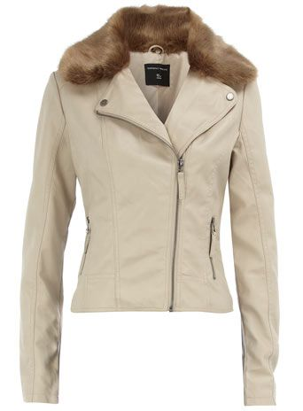 Motorcycle jacket with faux fur detachable collar
