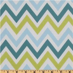 Most chevron patterns use just one color. I love that this fabric incorporates avocado green, teal and light blue.
