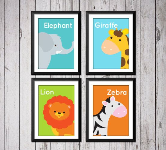 Jungle Animals prints  zebra lion elephant by RainbowsLollipopsArt, $22.00