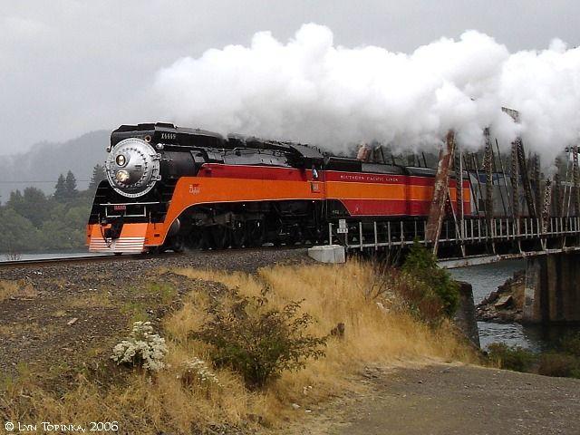 SP 4449 Steam Engine, at Wind River, Washington, Columbia Gorge.