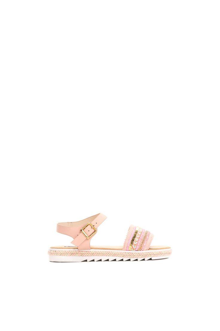 Comanda online, Sandale cu aplicatii cu margele roz accesorizata cu o catarama metalica. Articole masurate, calitate garantata!