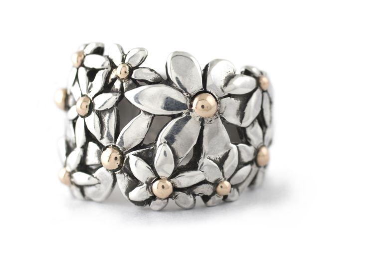 Handmade Argentium Silver & 9ct Rose Gold Broad Daisy Ring