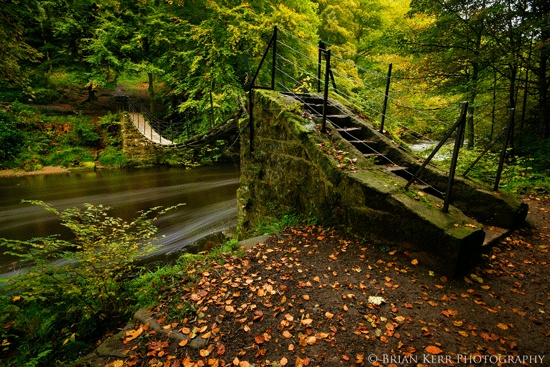 The Old Swing Bridge  Northumberland  The swing bridge over the River Allen, the first signs of autumn, falling leaves, the colours changing, a new season at Allen BanksBeautiful. (Northumberland, England.) Brian Kerr Photography