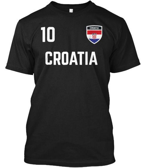Croatia Hrvatska Soccer Jersey 2018 Black T-Shirt Front  384f9e548
