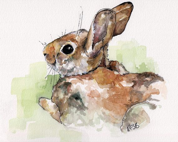 "Original Bunny Painting - Original Watercolor Painting, ""Peter Rabbit"", Nursery Decor, Wild Rabbit"