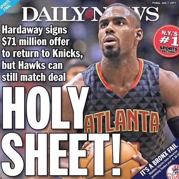 """Ballislife on Instagram: """"New York Daily News cover after the Knicks signed Tim Hardaway Jr to a 4-year $71 million offer sheet! Too much?"""""""